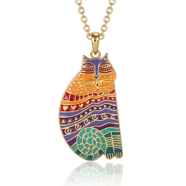 Rainbow Cat Laurel Burch Necklace Bright Multi 5027