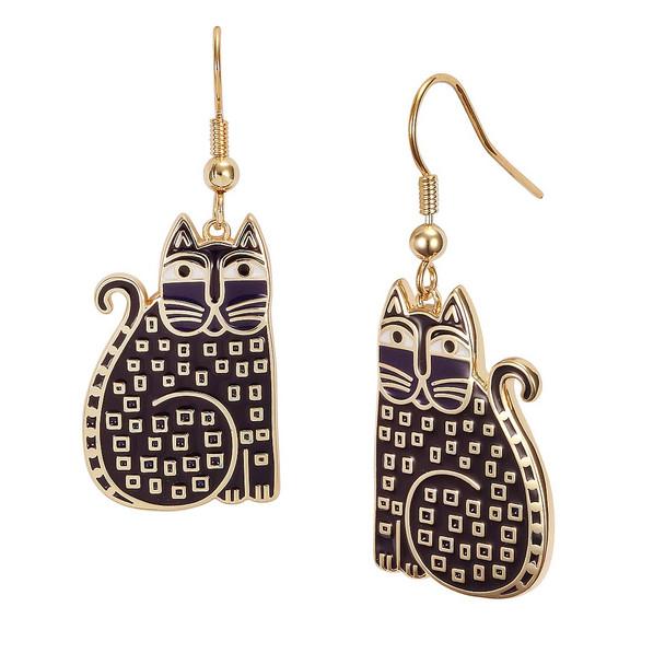 Indigo Cat Laurel Burch Earrings - 5029