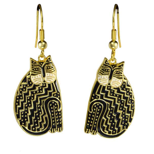 Tribal Cat Laurel Burch Earrings Black-White 5033