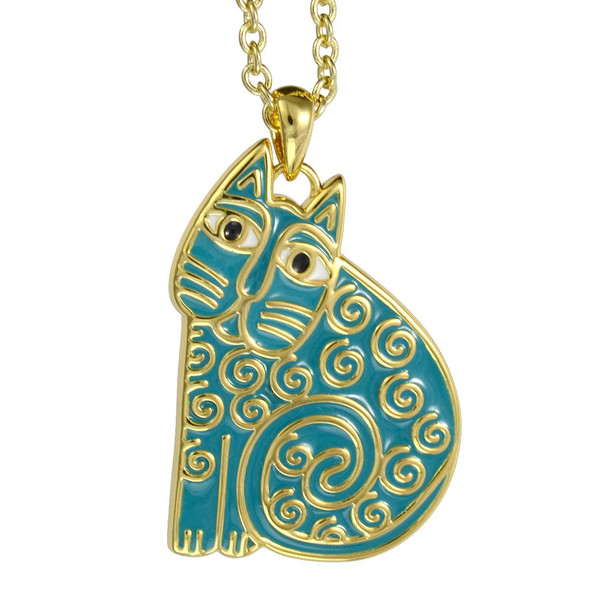 Jubilee Cat Laurel Burch Necklace Turquoise 5034