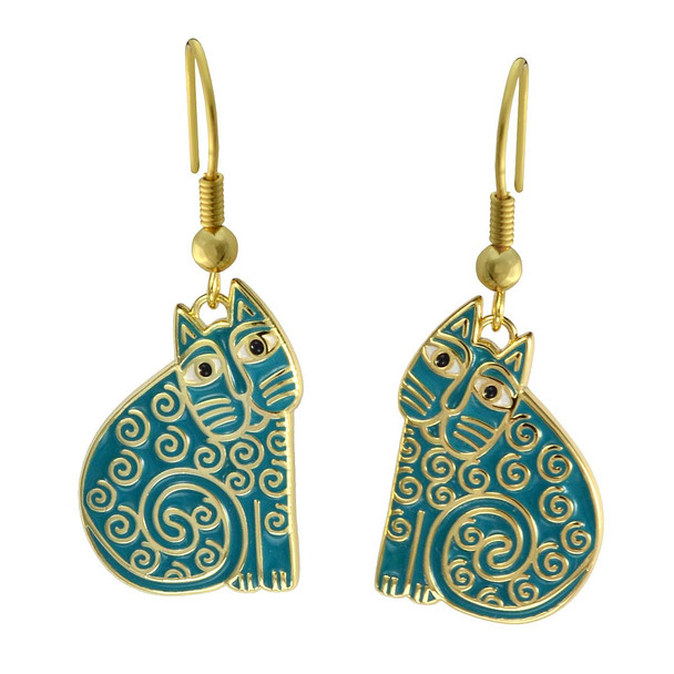 Jubilee Cat Laurel Burch Earrings Turquoise 5035