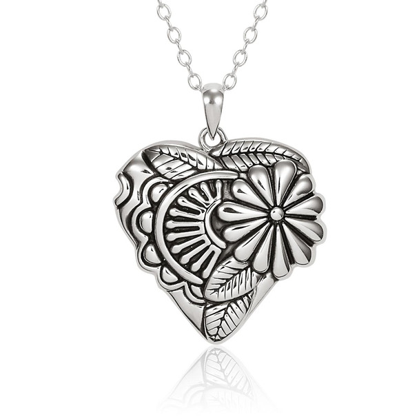 Flowering Heart Sterling Laurel Burch Necklace 4024