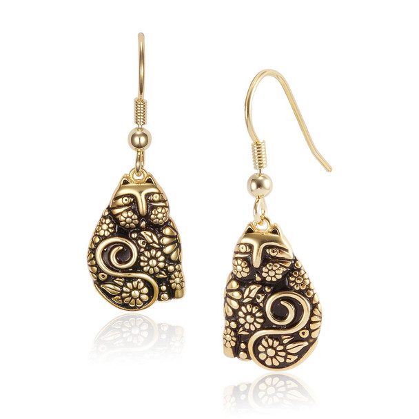 Flowering Feline Gold Laurel Burch Earrings 4034