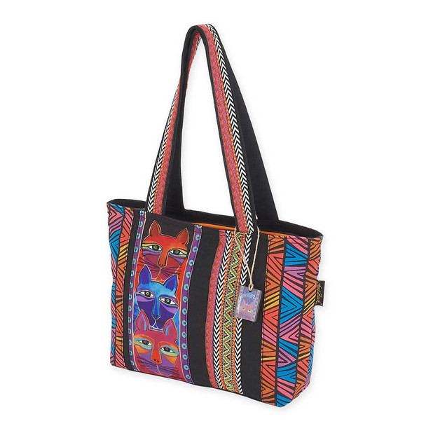 Laurel Burch Stacked Whiskered Cats Medium Tote LB5644