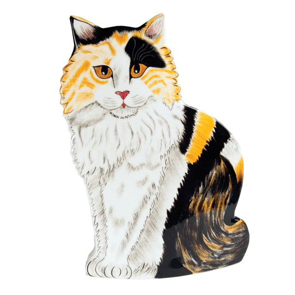 Long Hair Calico Cat 11.5 Tall Cat-Shaped Vase 45301