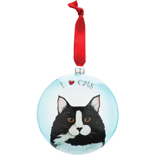 "Clark Tuxedo 5"" Glass Cat Christmas Ornament 45410"