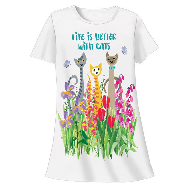 "Cat Theme Sleep Shirt Pajamas ""Life is Better with Cats"" 00330ot"