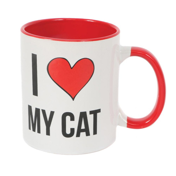 "I Love My Cat Stoneware Straight Sided Mug ""I Heart My Cat"" 10358"
