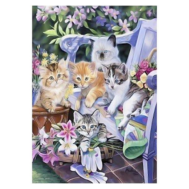 Purrfect Gardening Kittens Cats HOUSE Size Flag - HFBL-HE0006