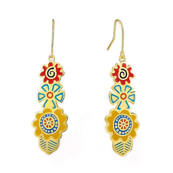 Multi Colors Blossoms Laurel Burch Earrings - 5096