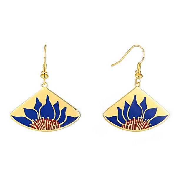 Lotus Blue Laurel Burch Earrings - 5089