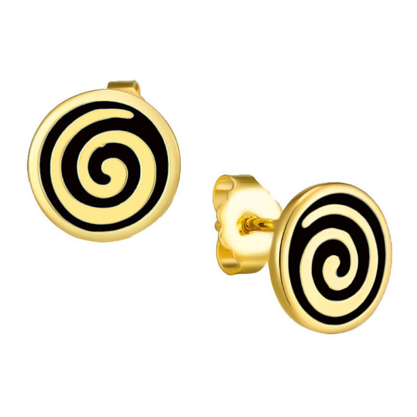 Black Swirl Stud Post Laurel Burch Earrings - 6042