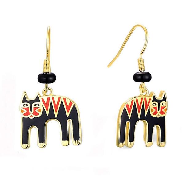Magicat Cat Laurel Burch Earrings Black Red - 5105