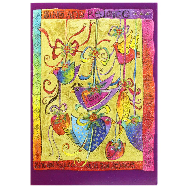 Laurel Burch Sing Rejoice Birds Christmas Card 10 Card Box C73911