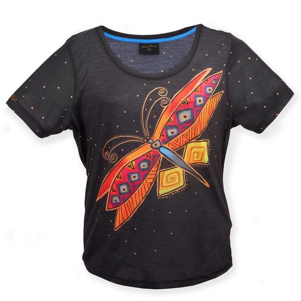 Laurel Burch Black Tee Shirt Dragonfly