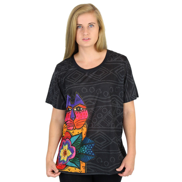 Laurel Burch Black Tee Shirt Mara Cat LBT045