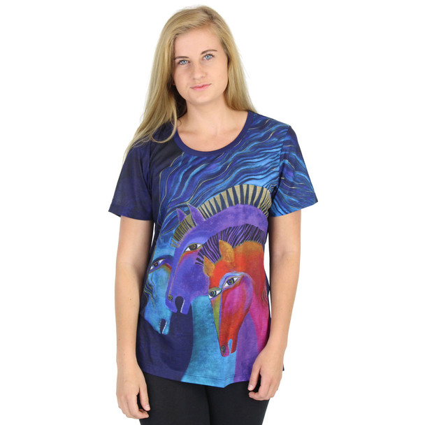 Laurel Burch Tee Shirt Wild Horses of Fire Blue LBT043