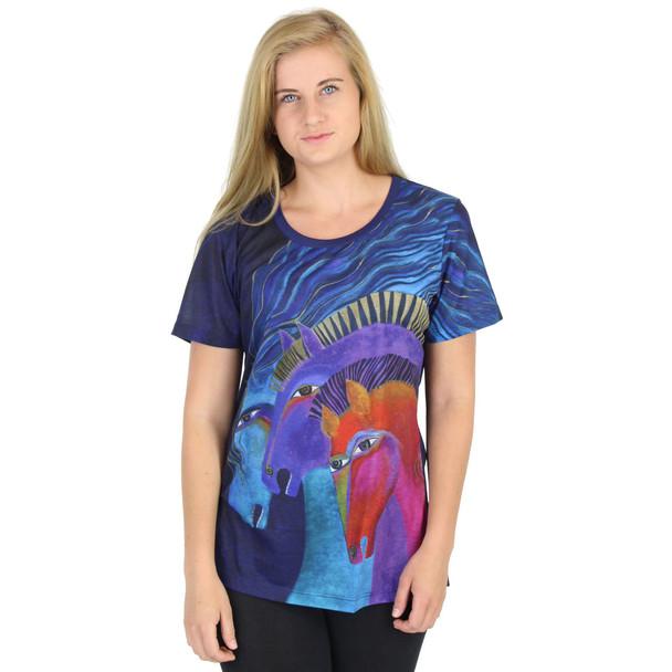 Laurel Burch Tee Shirt Wild Horses of Fire Blue LBT043