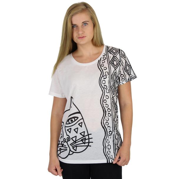 Laurel Burch Tee Shirt Black White Feline LBT042