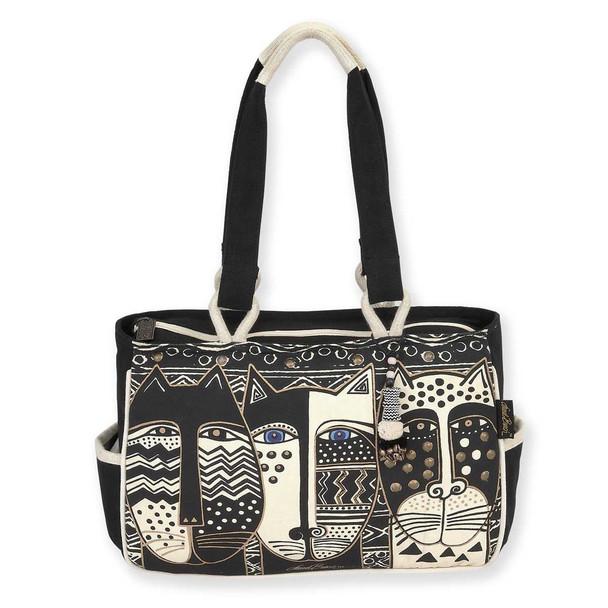 Laurel Burch Wild Cat Black White Medium Pocket Tote