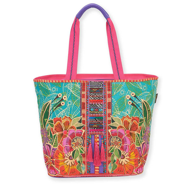 Laurel Burch Colorful Flora Floral Shoulder Tote