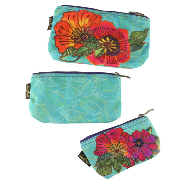 Laurel Burch Set of 3 Cosmetic Bag Colorful Flora Floral LB5824