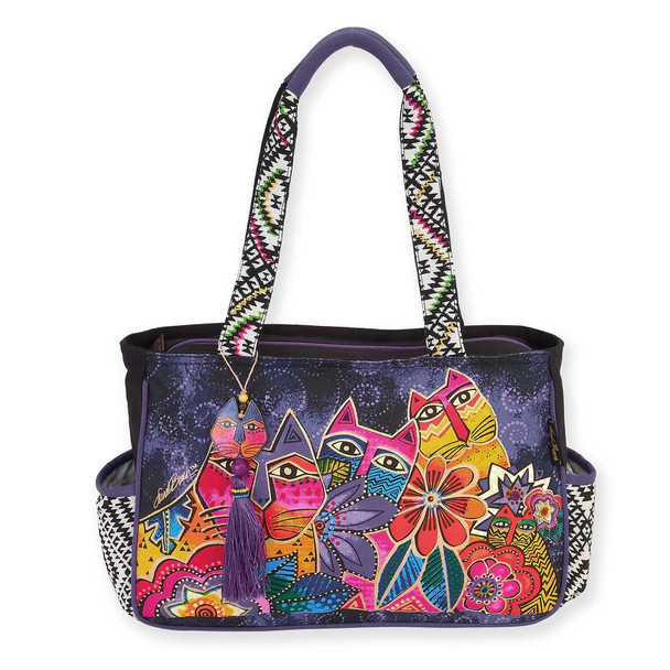 Laurel Burch Laurels Garden Cat Floral Medium Pocket Tote