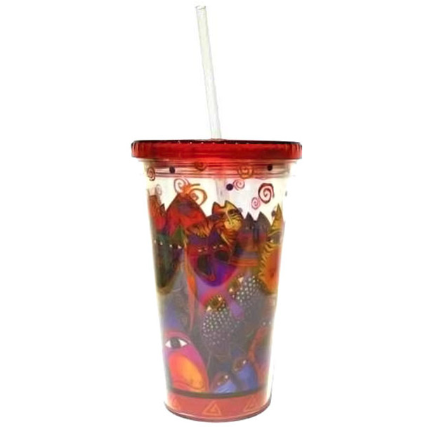 Laurel Burch Fantasticats Acrylic 16oz Tumbler Lid Straw - 26041