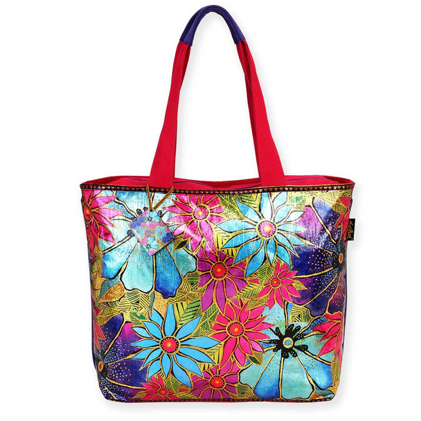 Laurel Burch Foiled Teal Purple Florals Shoulder Tote