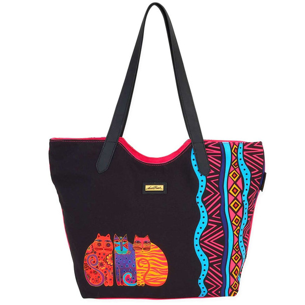 Laurel Burch Feline Friends Cats Scoop Shoulder Tote