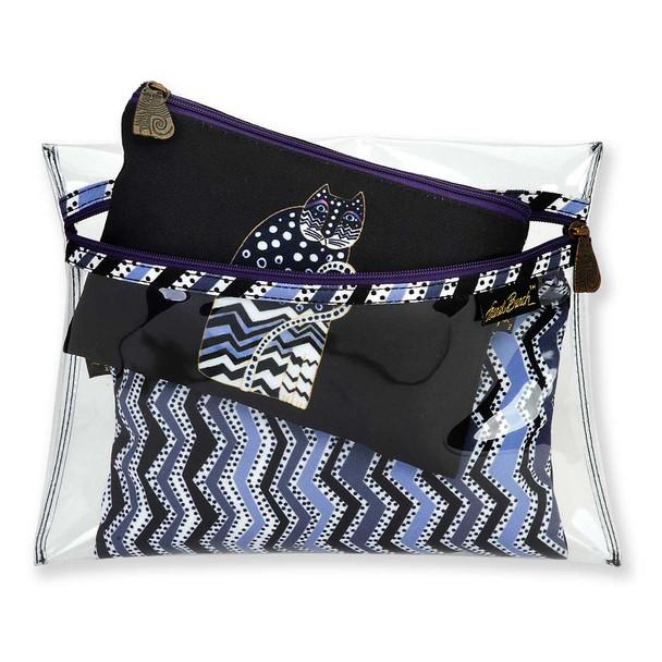 Laurel Burch Set of 3 Cosmetic Bag Polka Dot Cat Black White