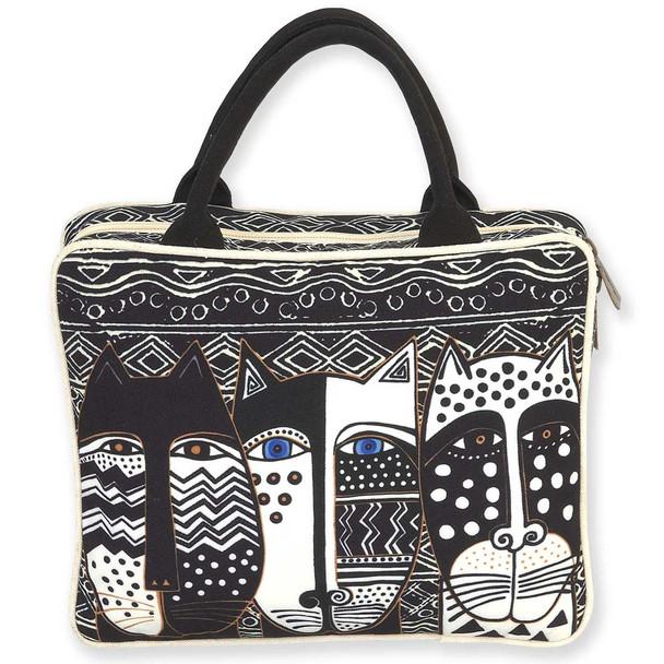 Laurel Burch Large Cosmetic Bag Wild Cat Black White
