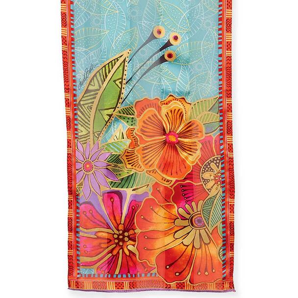 """Laurel Burch Silk Scarf """"Red Orange Florals"""" - LBS214"""