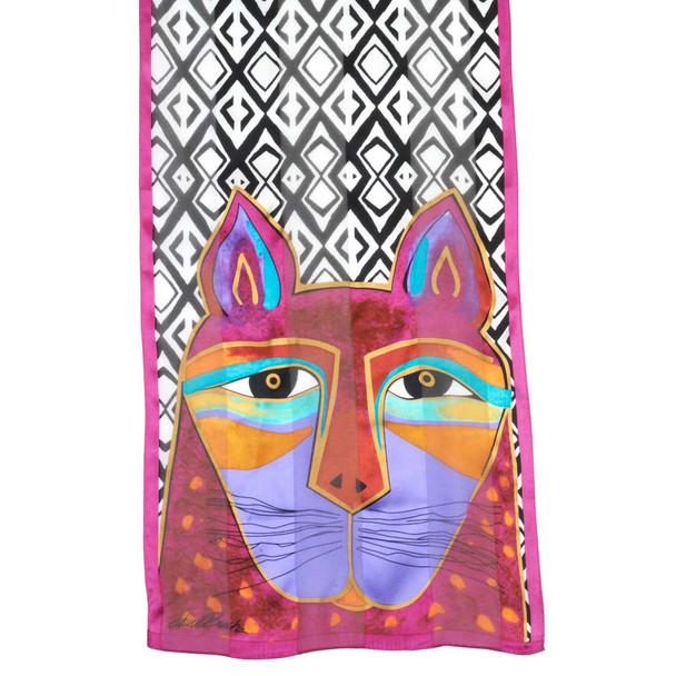 """Laurel Burch Silk Scarf """"Whiskered Cats"""""""
