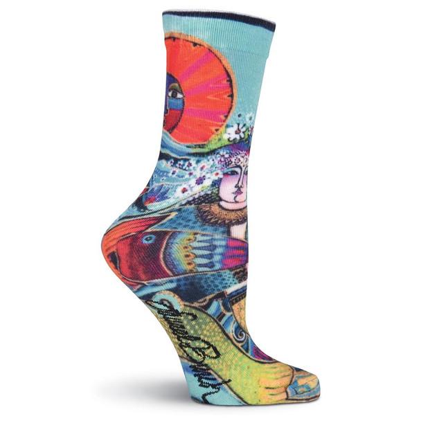 Laurel Burch Juliette Mermaid Ocean Crew Socks LBWF16H005-01