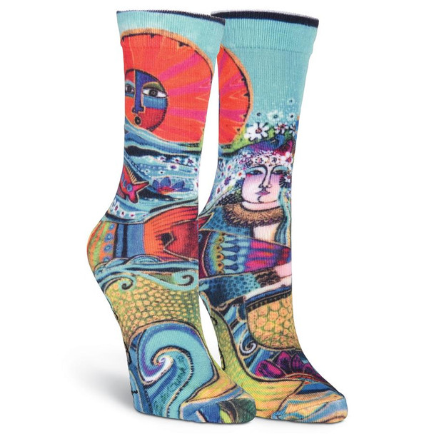 Laurel Burch Juliette Mermaid Ocean Crew Socks LBWF16H005-01