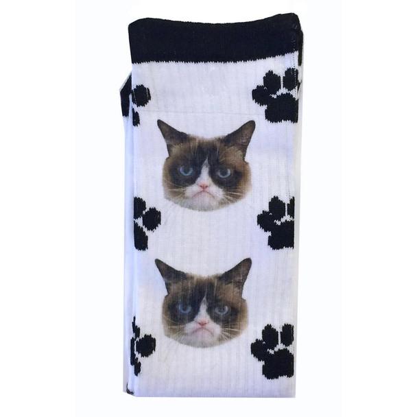 Grumpy Face Cat Print Sox White Socks GCWF15H011-01