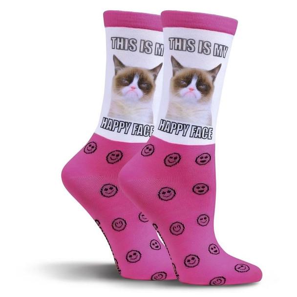 Grumpy Happy Face Cat Fuchsia Crew Socks GCWF15H008-01