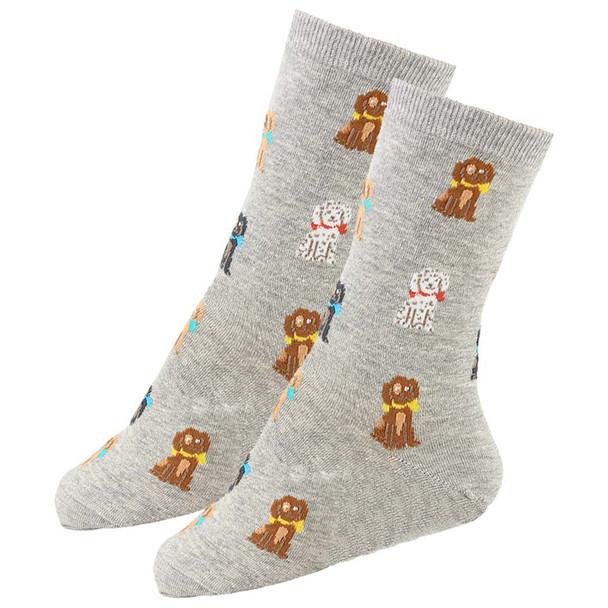 Playful Pups Dog Theme Socks - Gray - KB61648-G