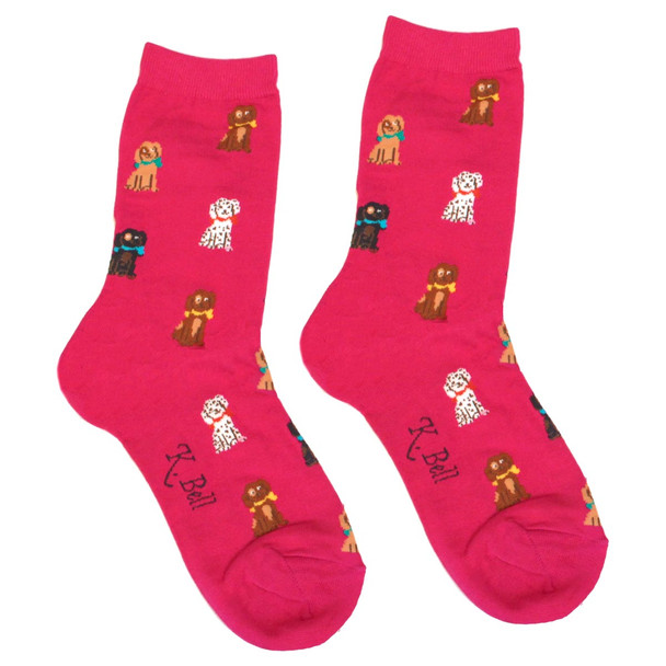 Playful Pups Dog Theme Socks - Fuchsia - KB61648-P