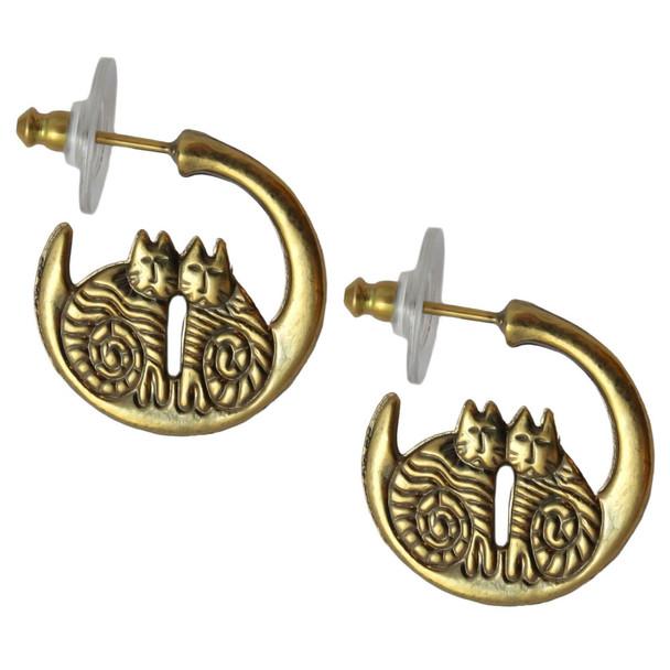 Twin Cats Cast Gold Tone Laurel Burch Earrings - 4049B