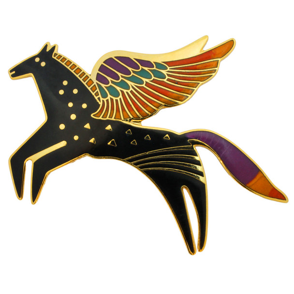 "Laurel Burch ""Soaring Equus"" Horse Enamel Goldtone Pin - LBP1E"
