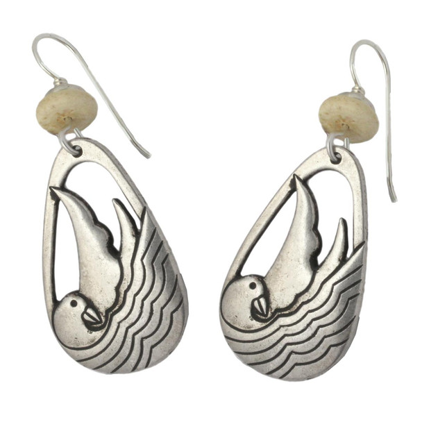 Laurel Burch Seabird Bird Drop Cast SilverTone Earrings - LBJ001S