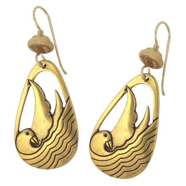 Laurel Burch Seabird Bird Drop Cast GoldTone Earrings - LBJ001G