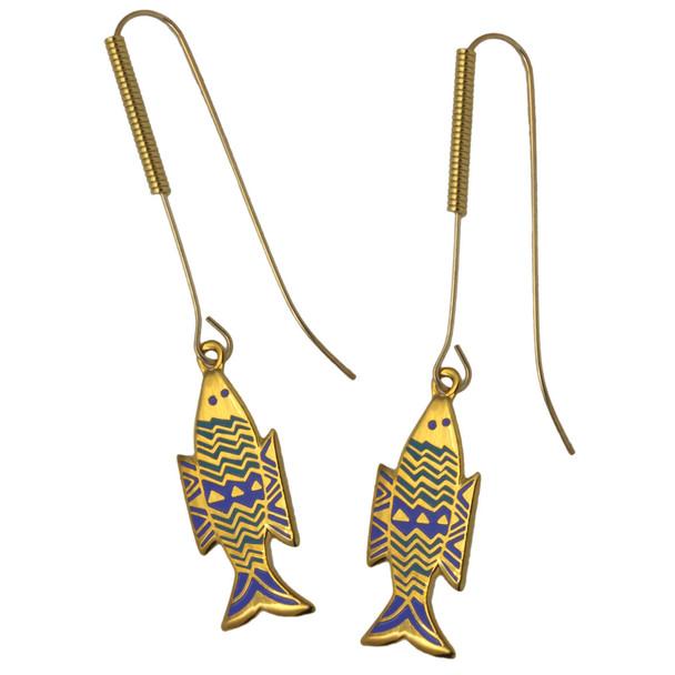 Laurel Burch Fish Enamel GoldTone Drop Earrings - LB103E