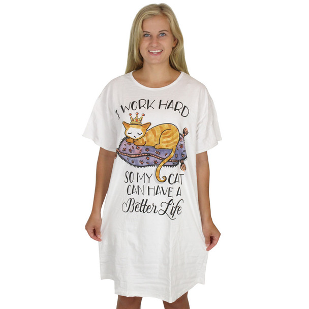 "Cat Theme Sleep Shirt Pajamas ""Work Hard So CAT Has Better Life"" - 533OT"