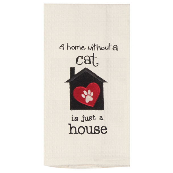 Cat Home House Embroidered Waffle Cotton Towel - F0794