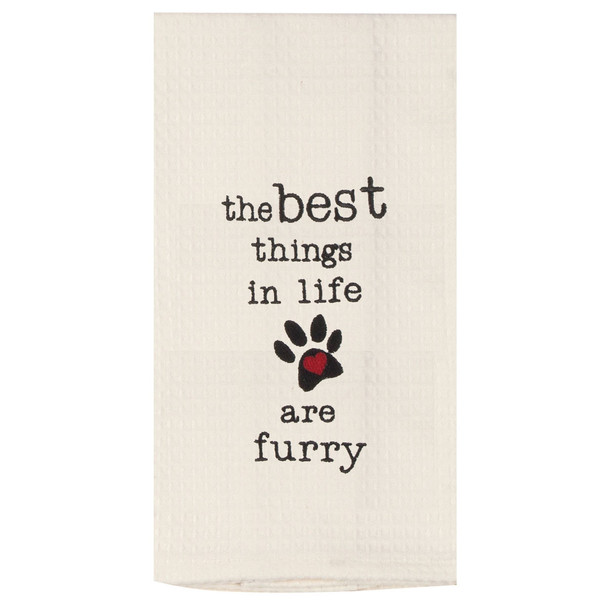 Best Things in Life are Furry Embroidered Waffle Cotton Towel - F0795