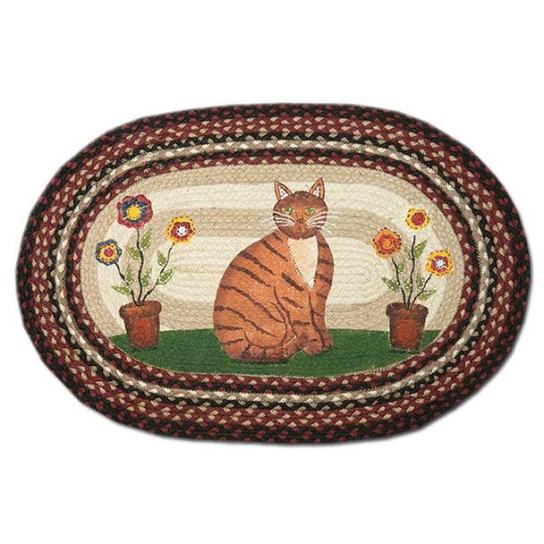 Folk Art Cat 20x30 Hand Printed Oval Braided Floor Rug OP-344