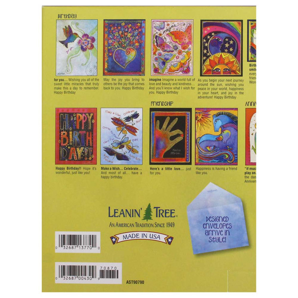 Laurel Burch Best of Greeting Card Assortment - 20 cards: Back View